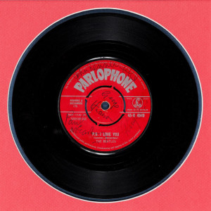 1962 - Love Me Do - 7 inch single, U.K., A-side label, signed by The Beatles