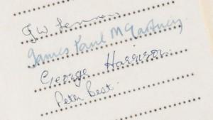Beatles' første pladekontrakt, 1961, deres underskrifter