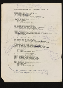 A Hard Rain's A-Gonna Fall - typed manuscript with handwritten notes