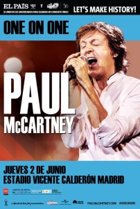 2. juni 2016 - One On One-tour, Paul McCartney, Estadio Vicente Calderon, Madrid - concert poster