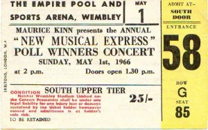 1. maj 1966 - Wembley Empire Pool, The Beatles, koncertbillet