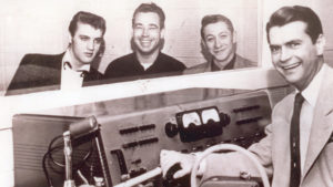 Elvis Presley, Bill Black, Scotty Moore and Sam Phillips, 1954