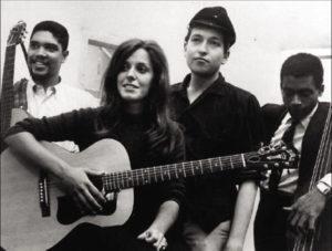 Bruce Langhorne, th, m. Carolyn Hester, Bob Dylan og Bill Lee, 1961