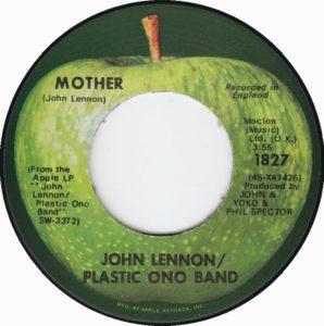 1970 - Mother - John Lennon, 7 inch single, A-side label